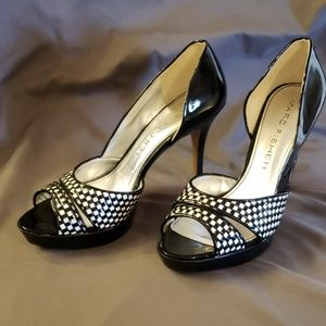 Marc Fisher patent leather black and white pumps